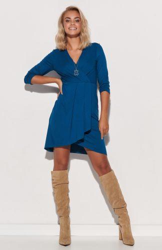 Sukienka kopertowa asymetryczna dopasowana morska