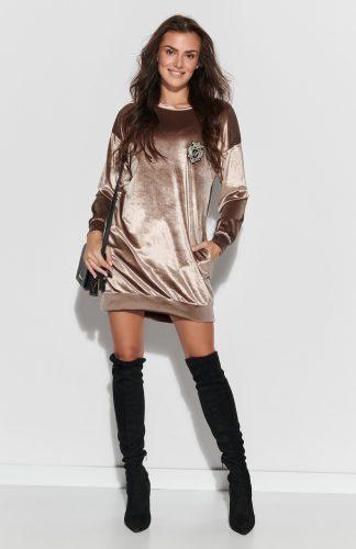 Sukienka z weluru asymetryczna mini beżowa