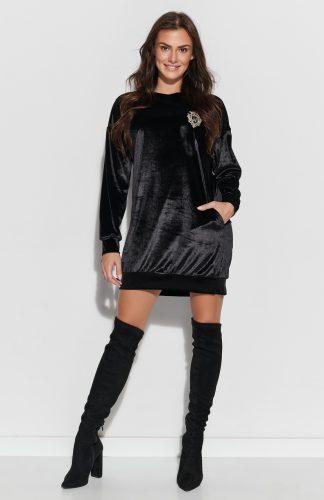 Sukienka z weluru asymetryczna mini czarna
