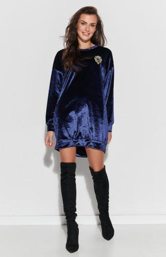 Sukienka z weluru asymetryczna mini niebieska