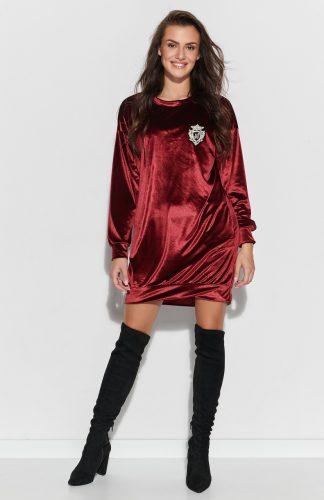 Sukienka z weluru asymetryczna mini bordowa