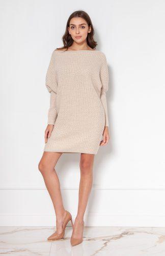 Sukienka tunika swetrowa ciepła beżowa