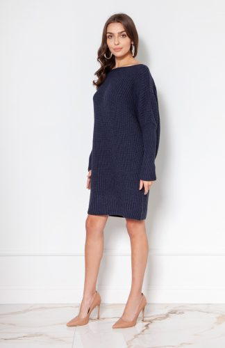 Sukienka tunika swetrowa ciepła granatowa