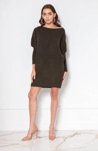 Sukienka tunika swetrowa ciepła khaki