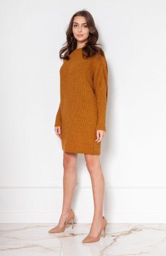 Sukienka tunika swetrowa ciepła musztardowa