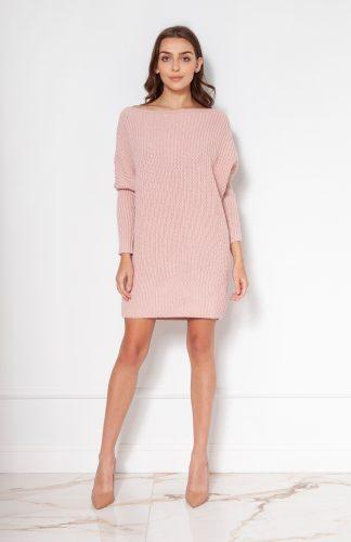 Sukienka tunika swetrowa ciepła różowa