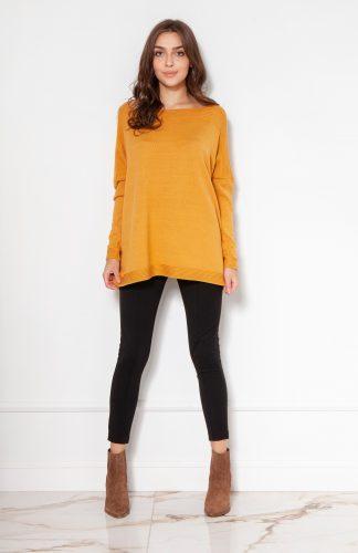 Sweter oversize z wiskozy musztardowy