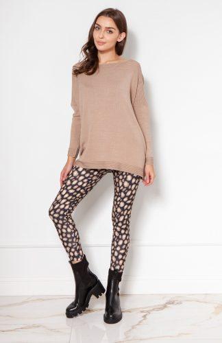 Sweter oversize z wiskozy beżowy