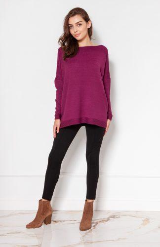Sweter oversize z wiskozy bordowy