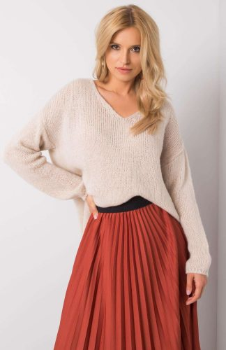 Sweter oversize ciepły beżowy