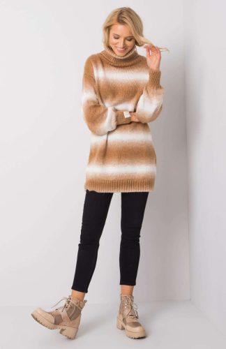 Sweter oversize z golfem ciepły brązowy