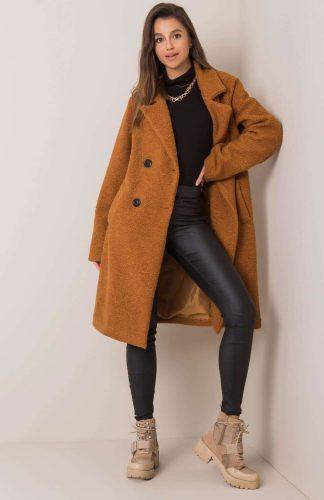Płaszcz długi ciepły oversize brązowy