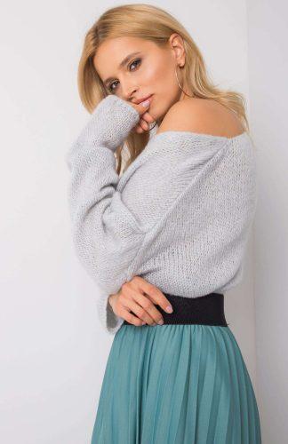 Sweter oversize ciepły błękitny