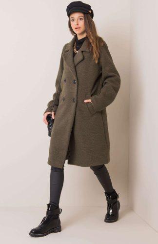 Płaszcz długi ciepły oversize khaki