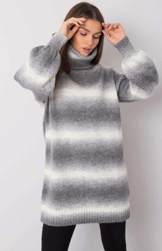 Sweter oversize z golfem ciepły szary