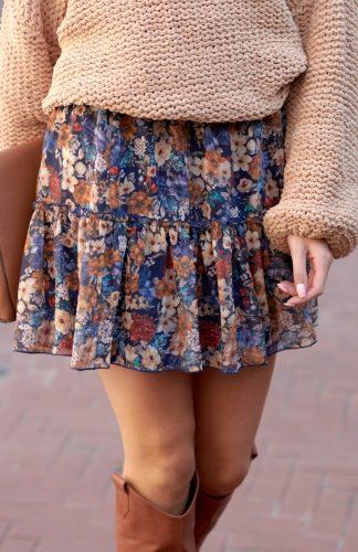 Spódnica mini z falbanami w kwiaty