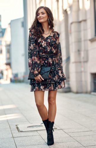 Sukienka szyfonowa z falbanami w kwiaty