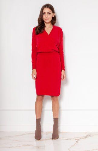 Sukienka swetrowa kopertowa czerwona