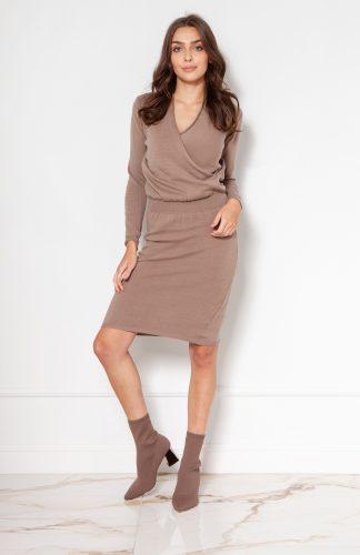Sukienka swetrowa kopertowa beżowa