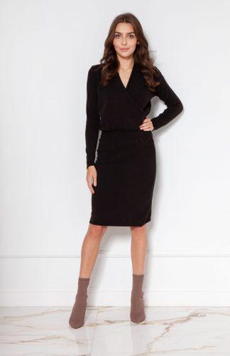 Sukienka swetrowa kopertowa czarna