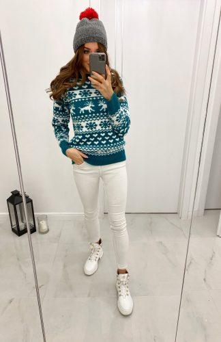 Sweter świąteczny damski szmaragdowy