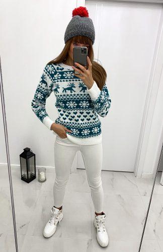 Sweter świąteczny damski biały