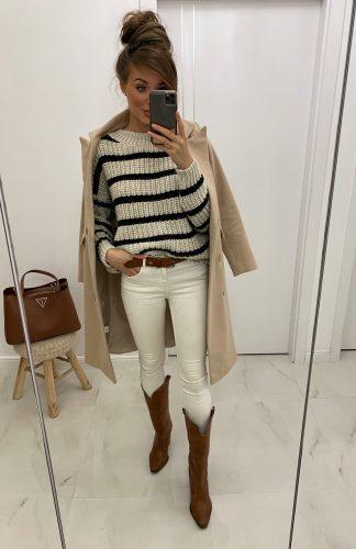 Sweter oversize w paski beżowy czarny