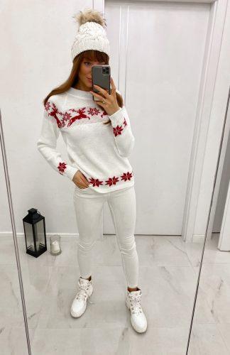 Sweter świąteczny w renifery biały