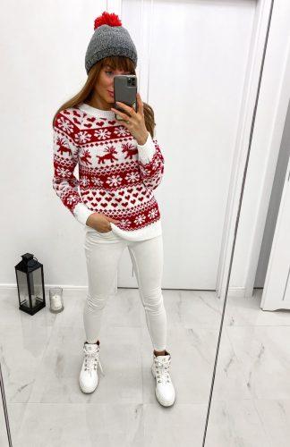 Sweter świąteczny damski biało czerwony