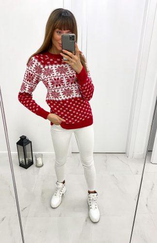 Sweter świąteczny damski w śnieżynki