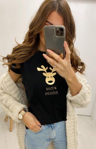 Koszulka na święta z reniferem czarna