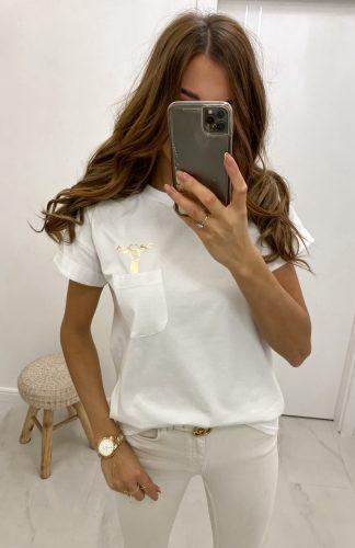 Koszulka świąteczna z reniferem biała