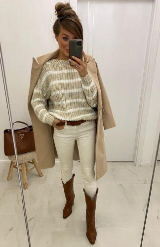 Sweter oversize w paski beżowy biały