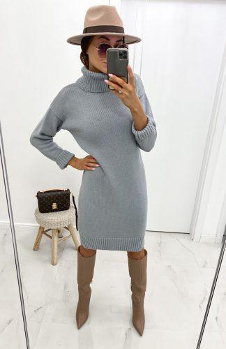 Sukienka swetrowa z golfem ciepła szara