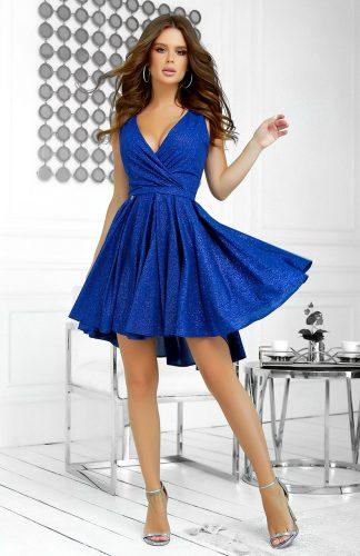 Sukienka brokatowa wieczorowa chabrowa
