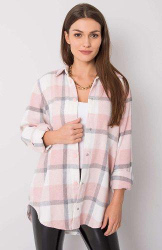 Koszula flanelowa w kratę różowa