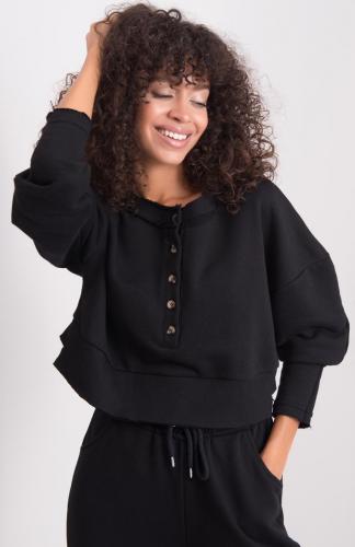 Bluza damska bawełniana krótka czarna