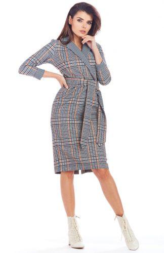 Sukienka w kratę kopertowa midi