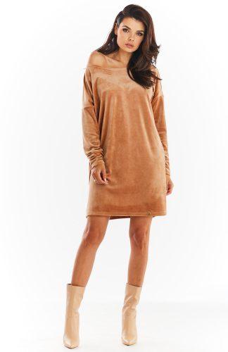 Sukienka welurowa trapezowa beżowa