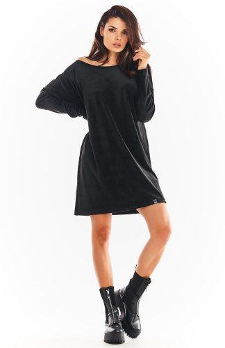 Sukienka welurowa trapezowa czarna