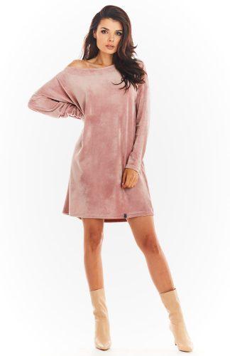 Sukienka welurowa trapezowa różowa