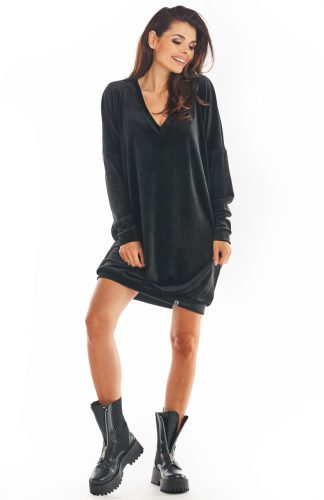 Sukienka welurowa oversize czarna