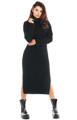 Sukienka swetrowa midi ciepła z golfem czarna