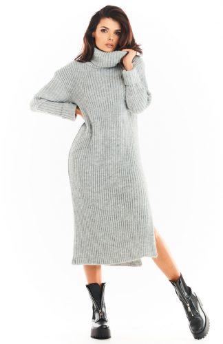 Sukienka swetrowa midi ciepła z golfem szara