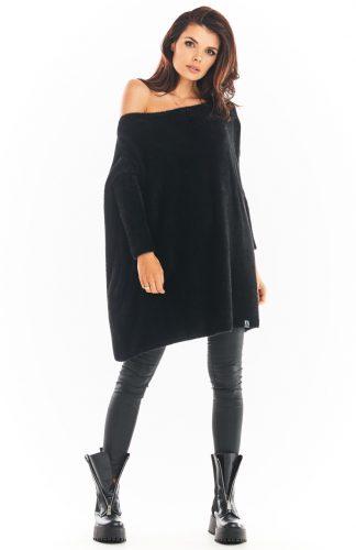 Sweter długi w łódkę odsłaniający ramię czarny