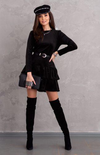 Sukienka welurowa rozkloszowana z falbanami czarna