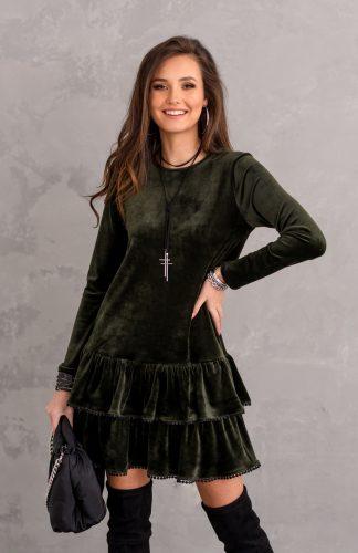 Sukienka welurowa rozkloszowana z falbanami zielona