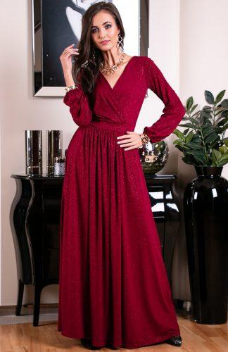 Sukienka długa wieczorowa kopertowa bordowa