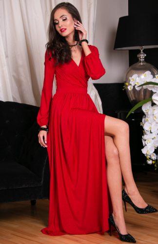 Sukienka długa wieczorowa kopertowa czerwona