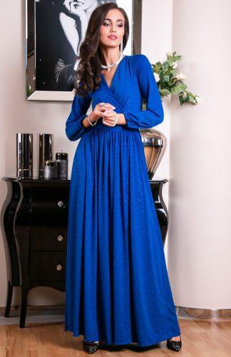 Sukienka długa wieczorowa kopertowa chabrowa